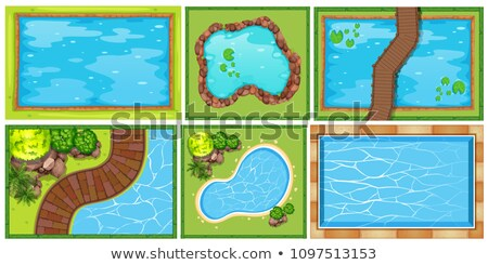 Top view of pond and road Stock photo © bluering