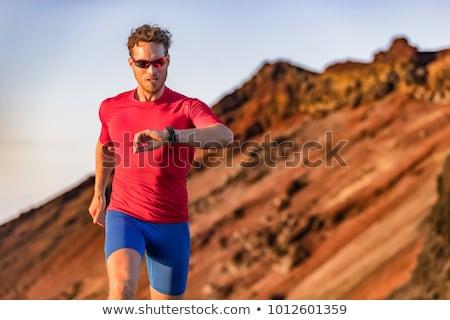 runner · sport · horloge · zomer · bergen · parcours - stockfoto © blasbike