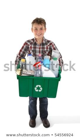 Fiú tart újrahasznosítás tároló tele műanyag Stock fotó © RAStudio