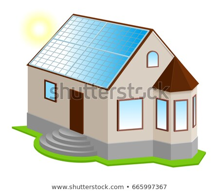 solar panel on roof new 3d private house with bay window stock photo © orensila