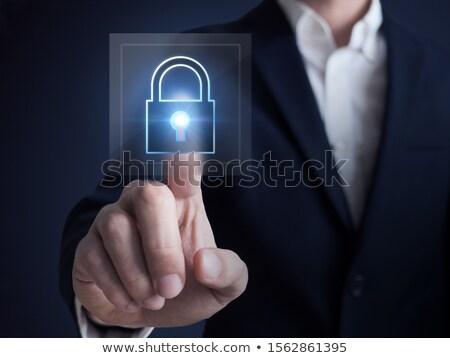 Mão dedo imprensa confidencial dados botão Foto stock © tashatuvango