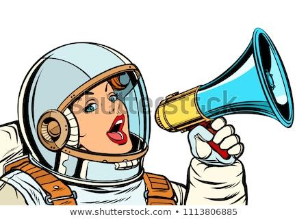 öfkeli kadın astronot yalıtılmış beyaz Stok fotoğraf © rogistok