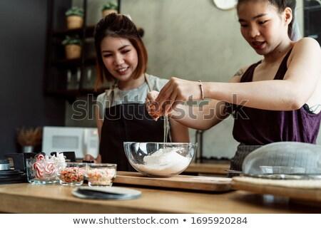 nő · kagyló · portré · gyönyörű · nő · lány · kéz - stock fotó © Pilgrimego