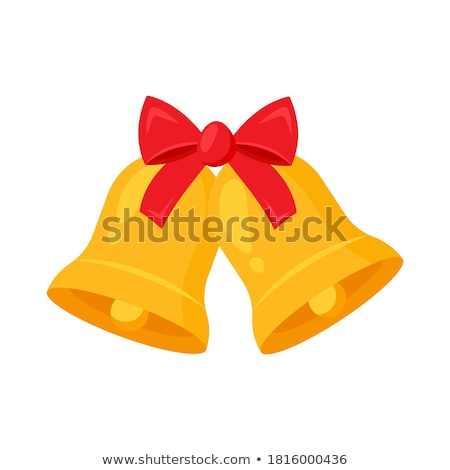 Stock photo: Golden bell with red ribbon symbol accessory christmas