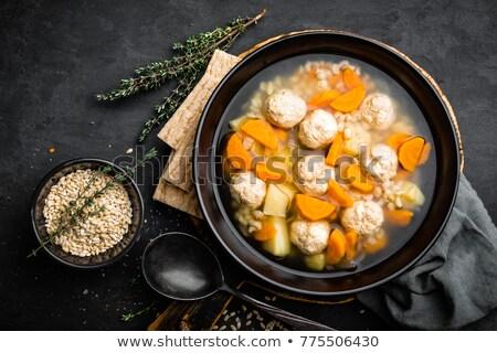 Zupa klopsiki perła jęczmień puchar Zdjęcia stock © yelenayemchuk