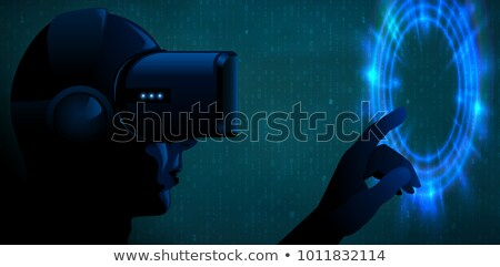Vector young man wearing virtual reality headset 3d glasses and touch blue glow portal or futuristic Stock photo © Iaroslava