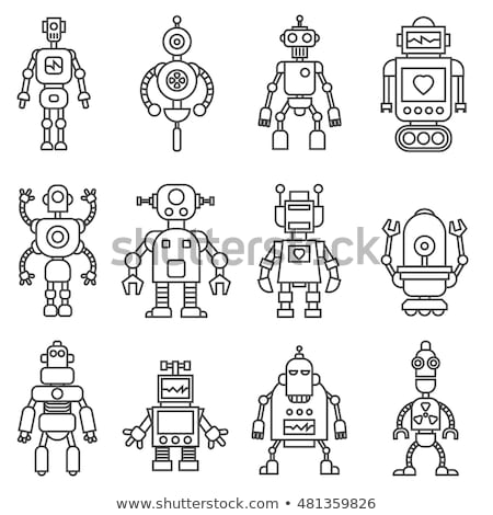 Set colored robots. Retro mechanical toys. Vintage space cyborgs Stock photo © popaukropa