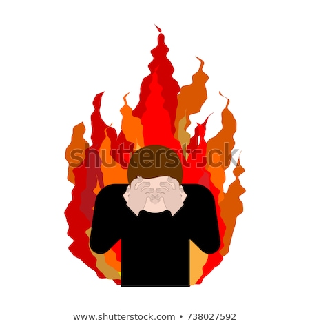 Sinner on fire. OMG. Cover face with hands. Despair and sufferin Stock photo © MaryValery