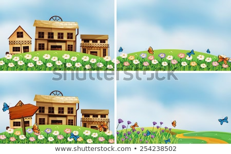 Four scenes with nature and buildings Stock photo © bluering