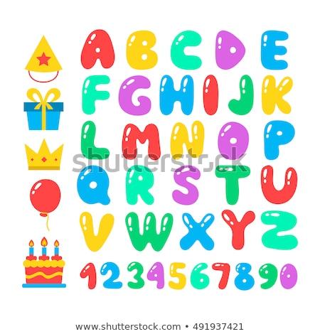 Joyeux anniversaire vecteur design ballon typographie 3D Photo stock © articular