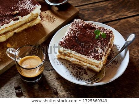 Gurmé tiramisu torta kávé étterem fehér Stock fotó © M-studio