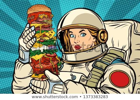 голодный женщину астронавт гигант Burger Поп-арт Сток-фото © studiostoks