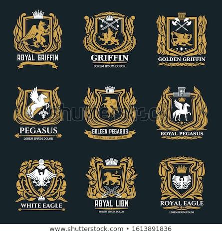 Pajzs szimbólum felirat állat kabát karok Stock fotó © MaryValery