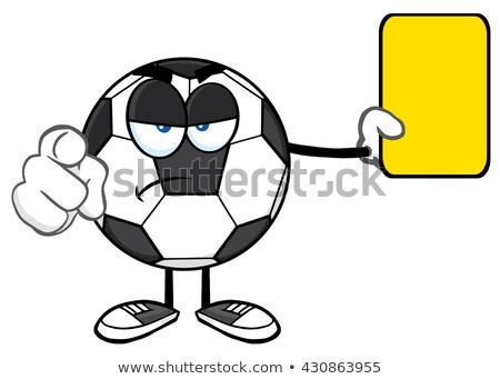 Futbol topu karikatür maskot karakter işaret sarı Stok fotoğraf © hittoon