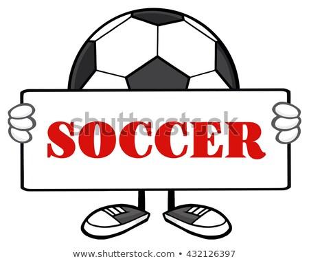 Minge de fotbal mascota de desene animate semna text Imagine de stoc © hittoon