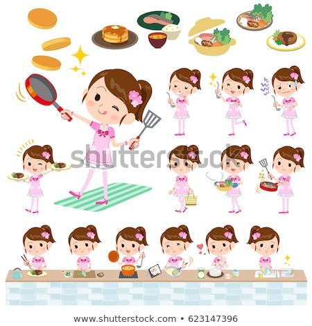 Pop ídolo rosa traje cozinhar conjunto Foto stock © toyotoyo