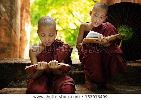 Gyerek fiú szerzetes olvas könyv illusztráció Stock fotó © lenm