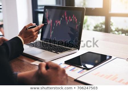 Kettő tőzsde megbeszél grafikonok számítógép hátsó nézet Stock fotó © AndreyPopov
