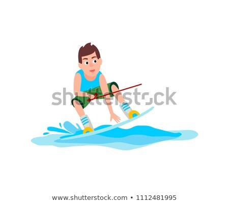 Spor emin erkek ayakta tahta Stok fotoğraf © robuart