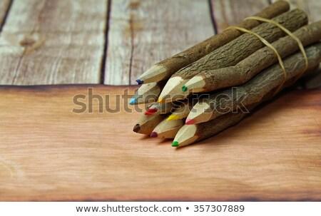 schors · gedekt · potlood · oud · papier · papier · hout - stockfoto © sandralise