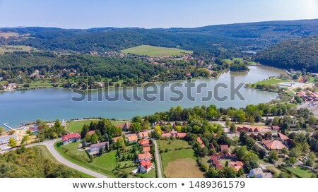 Drone Aerial Picture From A Hungarian Landscape Near The Small Village Orfu Stock photo © Digoarpi