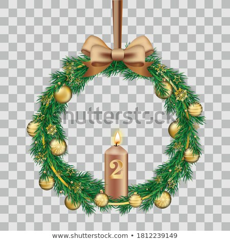 Green Fir Twigs Advent Wreath Golden Baubles Transparent Stock photo © limbi007