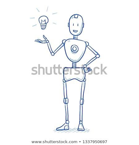 Insansı robot ampul el 3d illustration bilgisayar Stok fotoğraf © limbi007