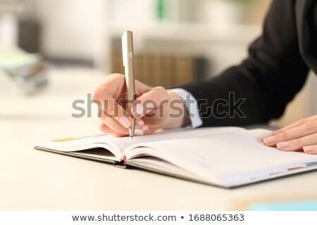 Foto stock: Ocupado · mujer · de · negocios · escrito · programa · escritorio · oficina