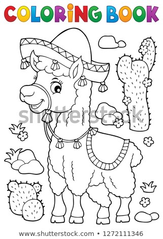 Coloring book llama in sombrero Stock photo © clairev