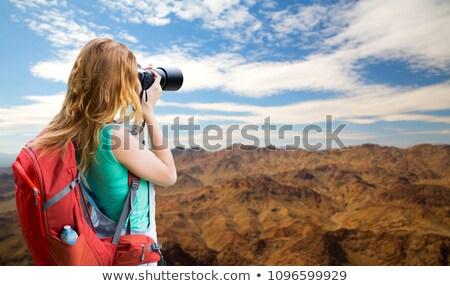 笑顔の女性 · リュックサック · グランドキャニオン · 冒険 · 旅行 · 観光 - ストックフォト © dolgachov