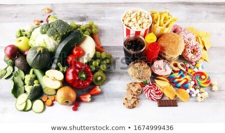 Saine aliments malsains nutrition mètre à ruban pomme Photo stock © unikpix