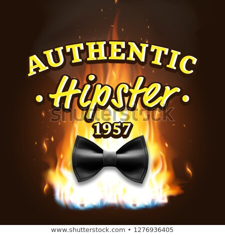 Authentic Hipster Label Vector. Vintage Emblem. On Fire. Bow Tie. Realistic Illustration Stock photo © pikepicture
