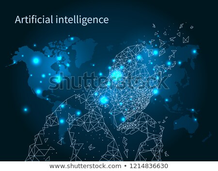 ストックフォト: 人工知能 · 地図 · ネットワーク · ポスター · ベクトル · 人