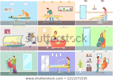 Spa Salon Receptionist and Tanning Set Vector Stock photo © robuart