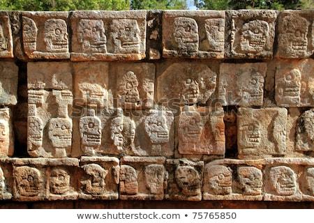Chichen Itza stenen muur Mexico wederopbouw muur bouw Stockfoto © lunamarina