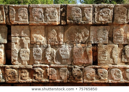Chichen · Itza · duvar · kafatasları · piramit · Bina · inşaat - stok fotoğraf © lunamarina