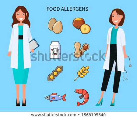 Food Allergens, Doctors with Causing Icons Set Stock photo © robuart