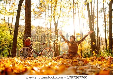 mulher · freelance · trabalhando · outono · parque · pessoas - foto stock © robuart