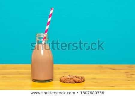 Chocolate milkshake in a one-third pint glass milk bottle Stock photo © sarahdoow