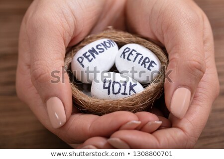 Holding Nest With Pension, Retirement Text And 401k Eggs Stock photo © AndreyPopov