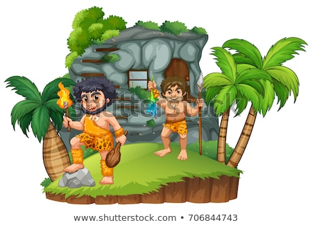 Two cavemen at the rocky house Stock photo © colematt