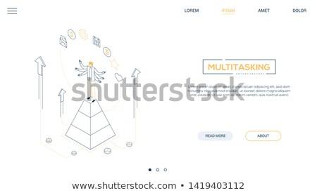 Multitasking concept - modern isometric vector website header Stock photo © Decorwithme
