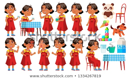 Arab, Muslim Girl Kindergarten Kid Poses Set Vector. Character Playing. Childish. Casual Clothe. For Stock photo © pikepicture