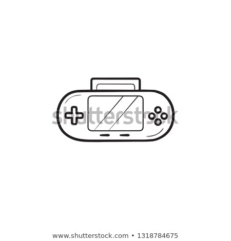 video game console portable doodle cartoon icon flat Stock photo © vector1st