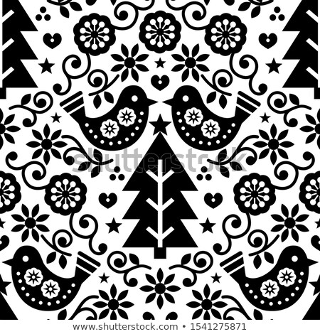 scandinavian seamless folk art vector pattern with flowers and hearts nordic ornament design   blac stock photo © redkoala