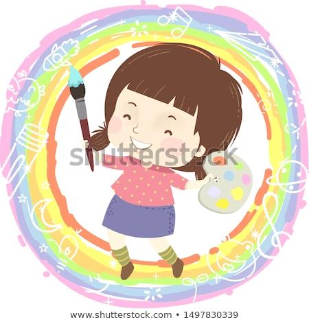 Doodle kunstenaar meisje schilderij illustratie vrouw Stockfoto © colematt