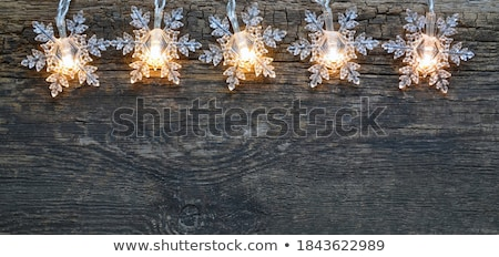 Foto stock: Winter Abstract Background Christmas Bulbs With Snowflakes