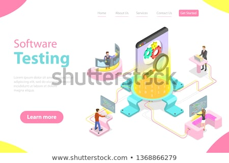 Isometric flat vector landing pate template of software quality assurance. Stock photo © TarikVision