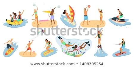 Emberek csobbanás tenger játszik röplabda vektor Stock fotó © robuart