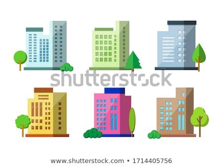 vector · gebouwen · ingesteld · ontwerp · huizen · geïsoleerd - stockfoto © marysan